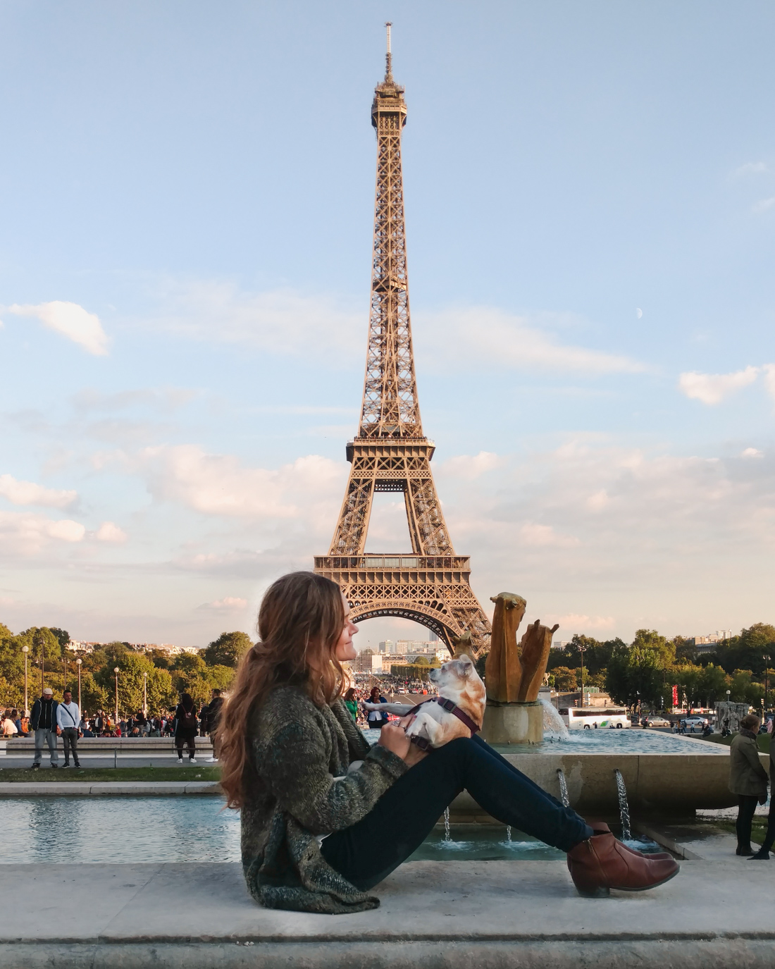 Eiffel tower with dog. Petite Suitcase