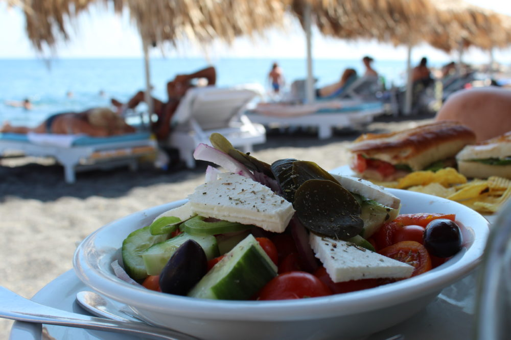 Greek Salad on Black Sand Beach