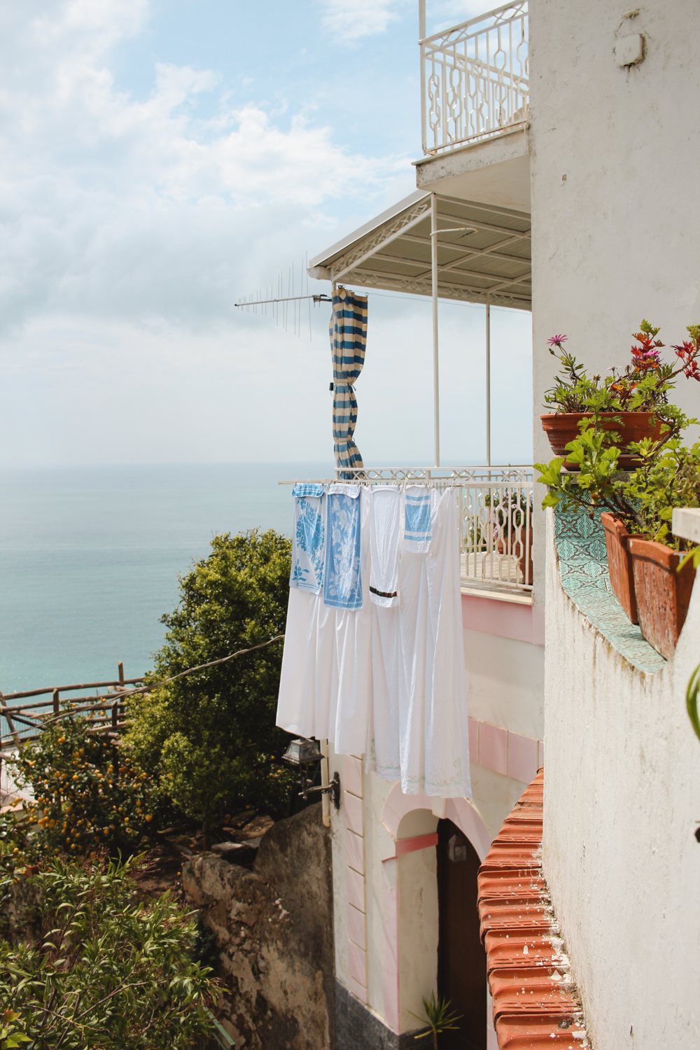 Hanging Laundry in Praiano, Amalfi Coast. Italy
