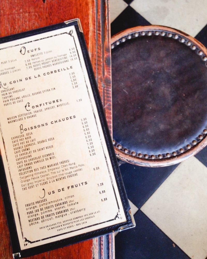 Menu at Café Saint-Régis