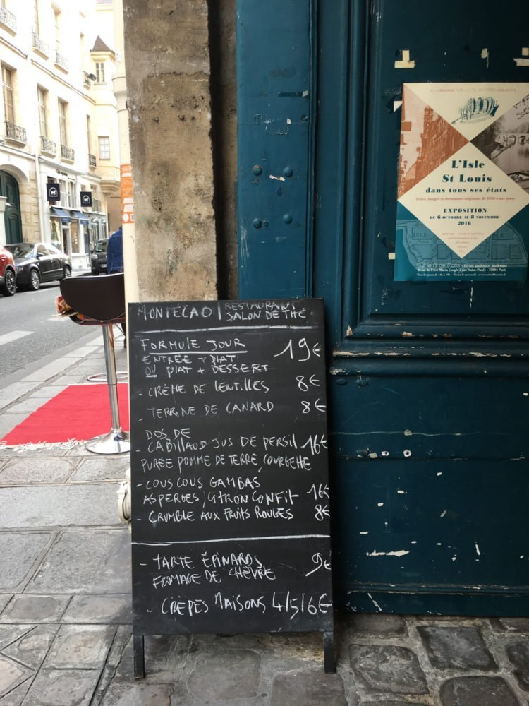 Menu in Paris, France