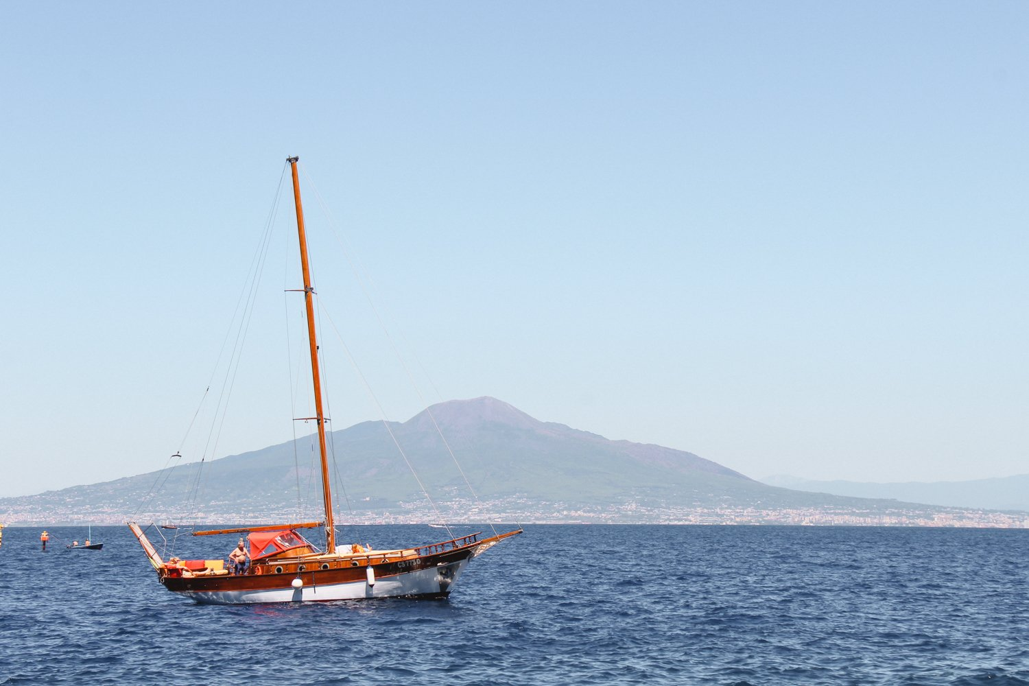 Sorrento - View of Vesuvius with Sail Boat
