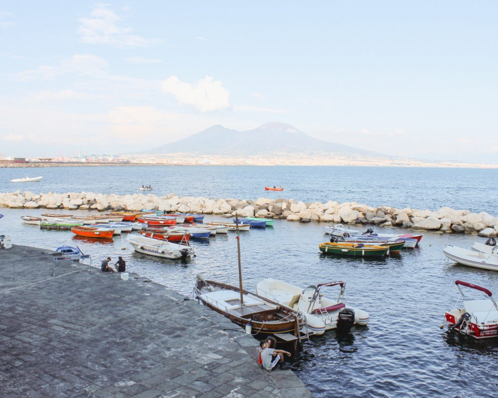 Sea view of the Gulf of Naples with Vesuvius