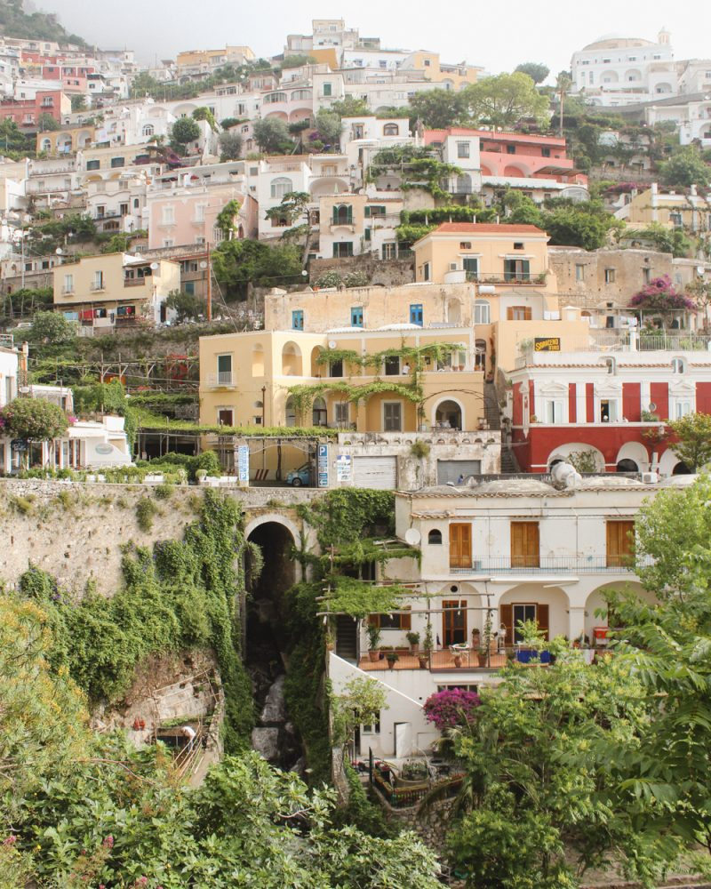 Positano buildings and tunnel