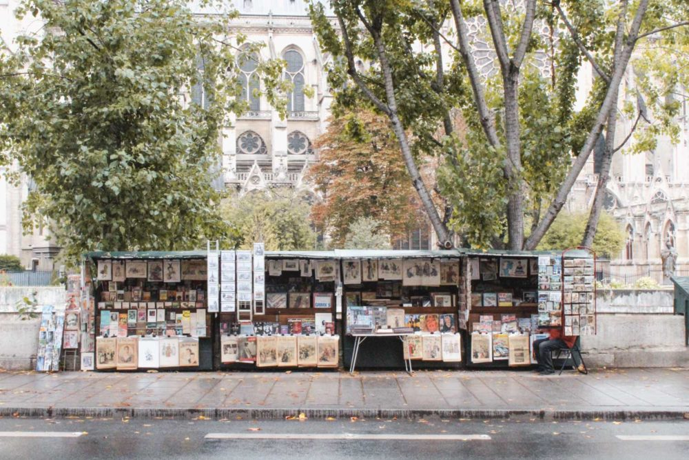 Bouquinistes by Seine and Notre Dame.