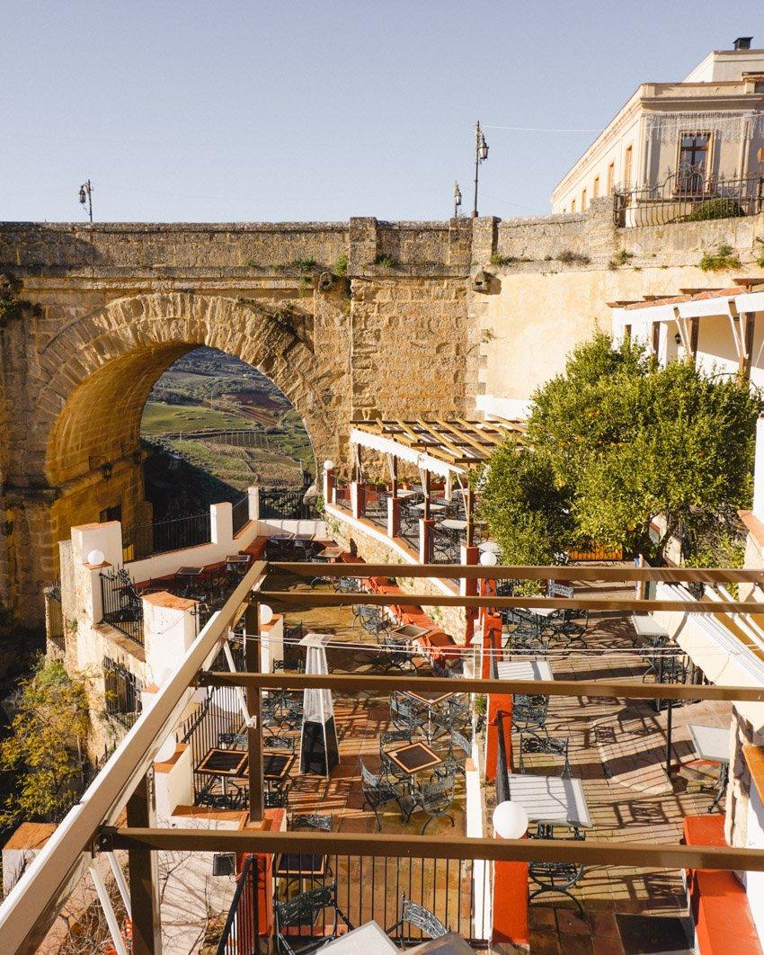 Restaurant Terrace in Ronda, Spain overlooking Puente Nuevo