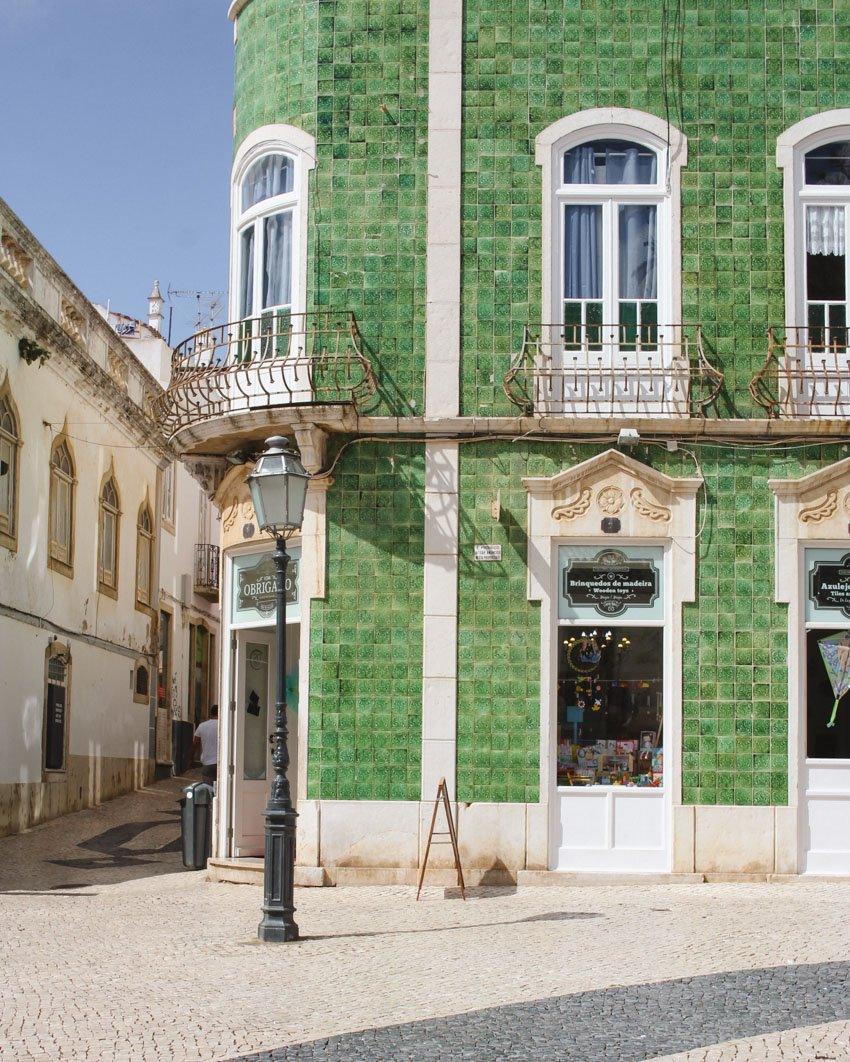 Green tile facade in Portugal